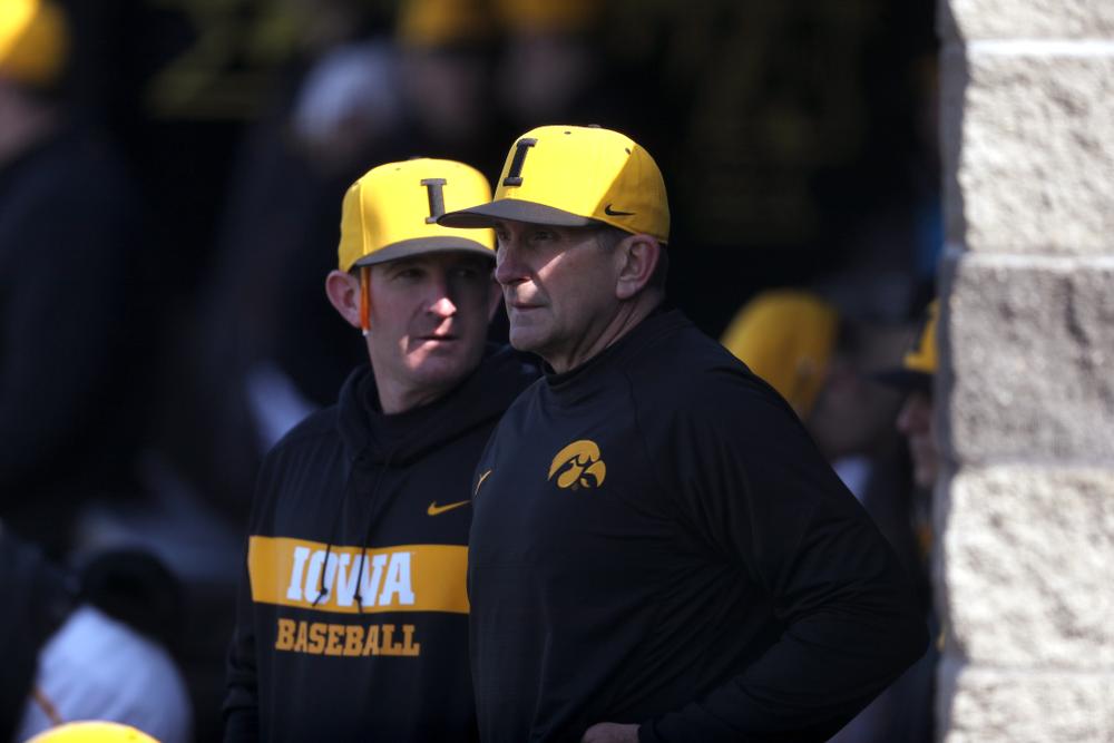 Head Coach Rick Heller against California State Northridge Sunday, March 17, 2019 at Duane Banks Field. (Brian Ray/hawkeyesports.com)