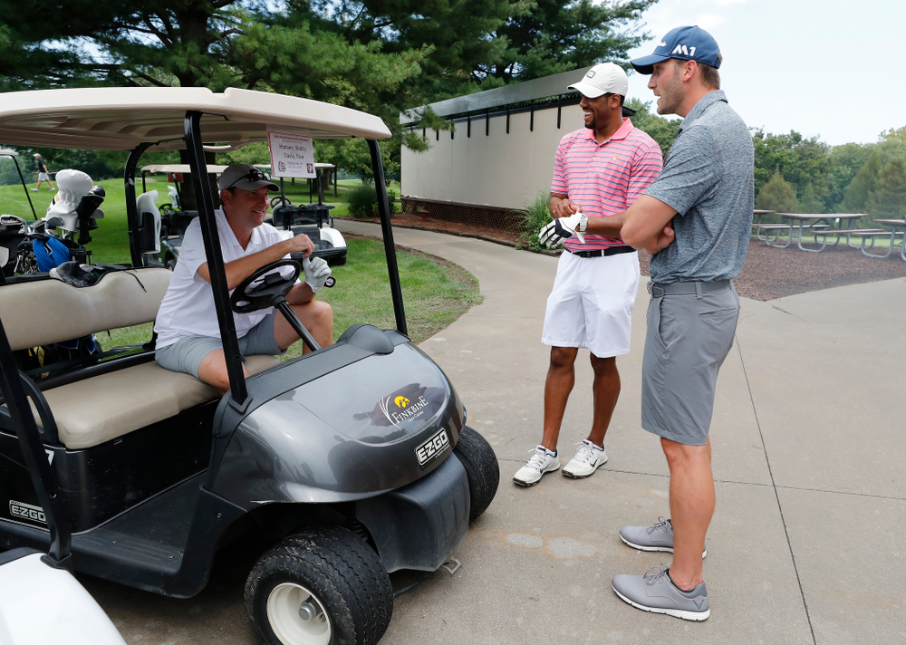Bobby Hansen, Duez Henderson, and Adam Haluska during the 2018 Chris Street Memorial Golf Outing Monday, August 27, 2018 at Finkbine Golf Course. (Brian Ray/hawkeyesports.com)