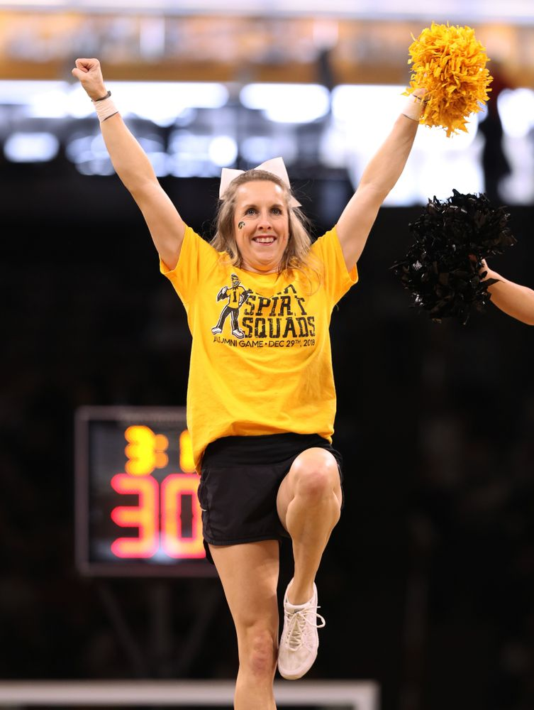 The Iowa Spirit Squad performs as the Iowa Hawkeyes take on the Illinois Fighting Illini Sunday, January 20, 2019 at Carver-Hawkeye Arena. (Brian Ray/hawkeyesports.com)