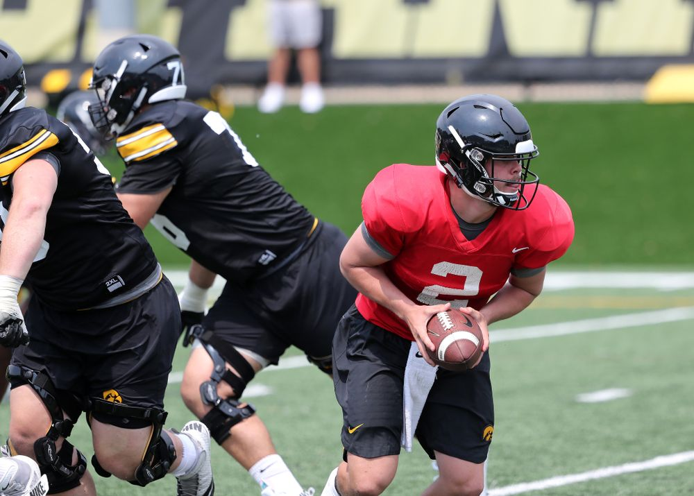 Iowa Hawkeyes quarterback Peyton Mansell (2) during the third practice of fall camp Sunday, August 5, 2018 at the Kenyon Football Practice Facility. (Brian Ray/hawkeyesports.com)