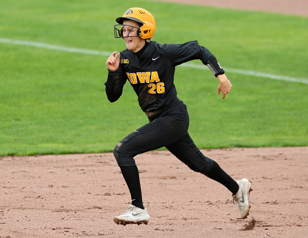 Iowa infielder Mia Ruther (26) runs to second during the fourth inning of their game against Iowa Softball vs Indian Hills Community College at Pearl Field in Iowa City on Sunday, Oct 6, 2019. (Stephen Mally/hawkeyesports.com)