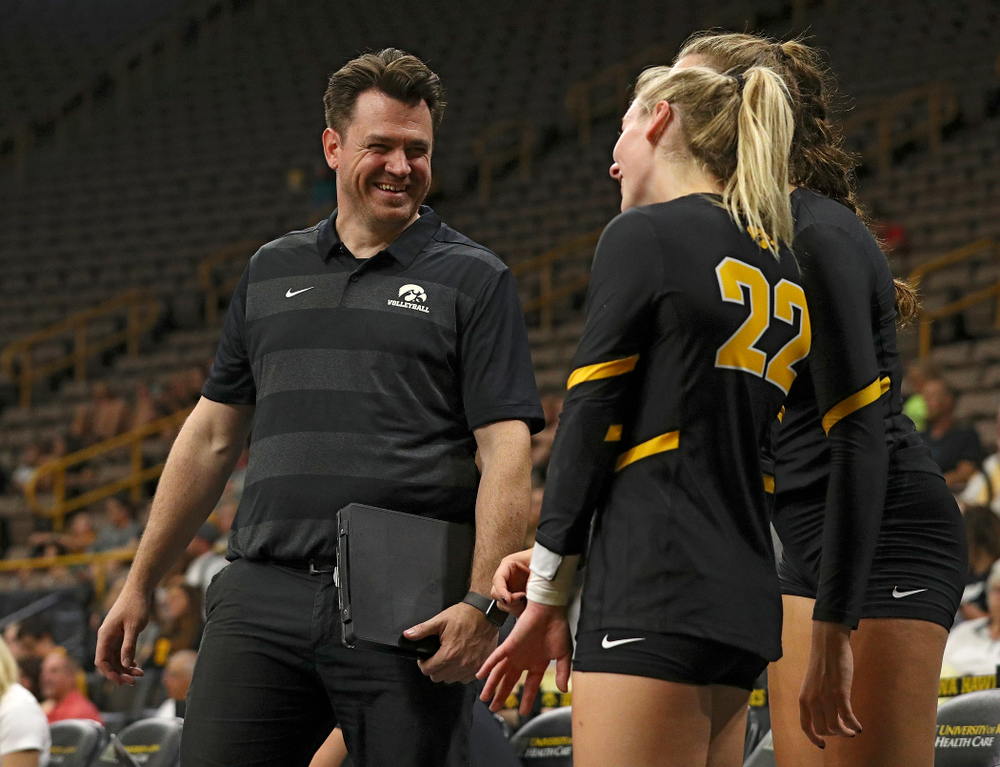 Iowa assistant coach Bobby Hughes during the first set of the Black and Gold scrimmage at Carver-Hawkeye Arena in Iowa City on Saturday, Aug 24, 2019. (Stephen Mally/hawkeyesports.com)