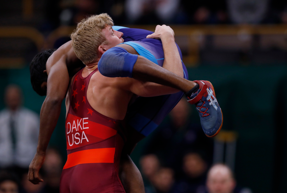 Kyle Dake during the United World Wrestling Freestyle World Cup Saturday, April 7, 2018 at Carver-Hawkeye Arena. (Brian Ray/hawkeyesports.com)