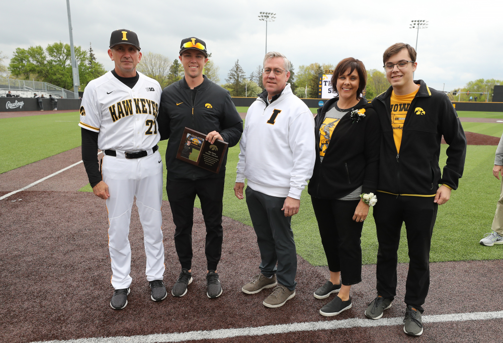 Student Manager Jake Stone during senior day festivities before their game against Michigan State Sunday, May 12, 2019 at Duane Banks Field. (Brian Ray/hawkeyesports.com)