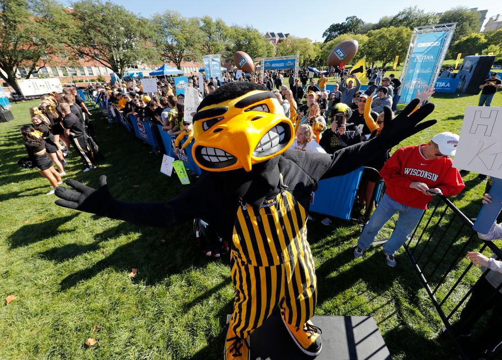 Herky The Hawk as the BTN Tailgate does a live show Saturday, September 22, 2018 at Hubbard Park on the University of Iowa Campus. (Brian Ray/hawkeyesports.com)