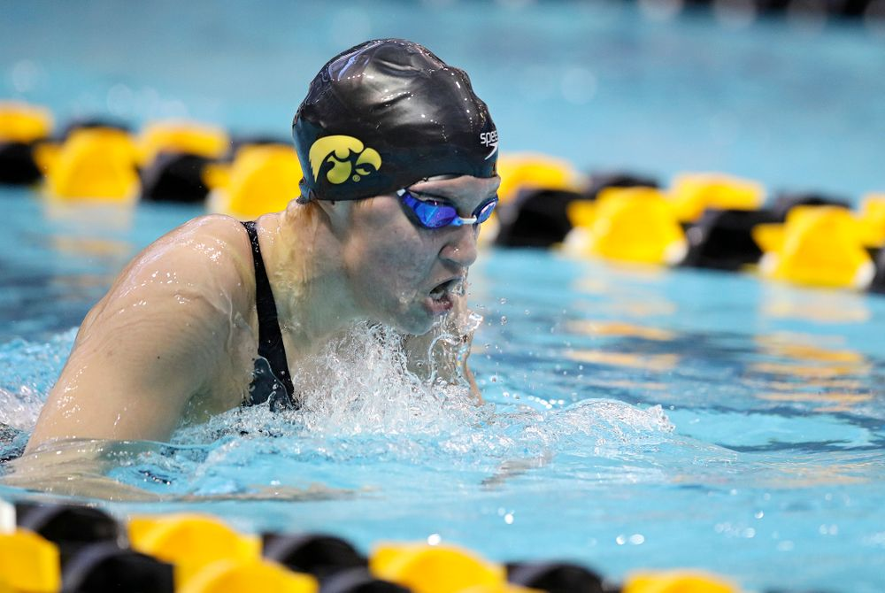 Iowa's Sage Ohlensehlen swims in the women's 200 yard breaststroke preliminary event during the 2020 Women's Big Ten Swimming and Diving Championships at the Campus Recreation and Wellness Center in Iowa City on Saturday, February 22, 2020. (Stephen Mally/hawkeyesports.com)