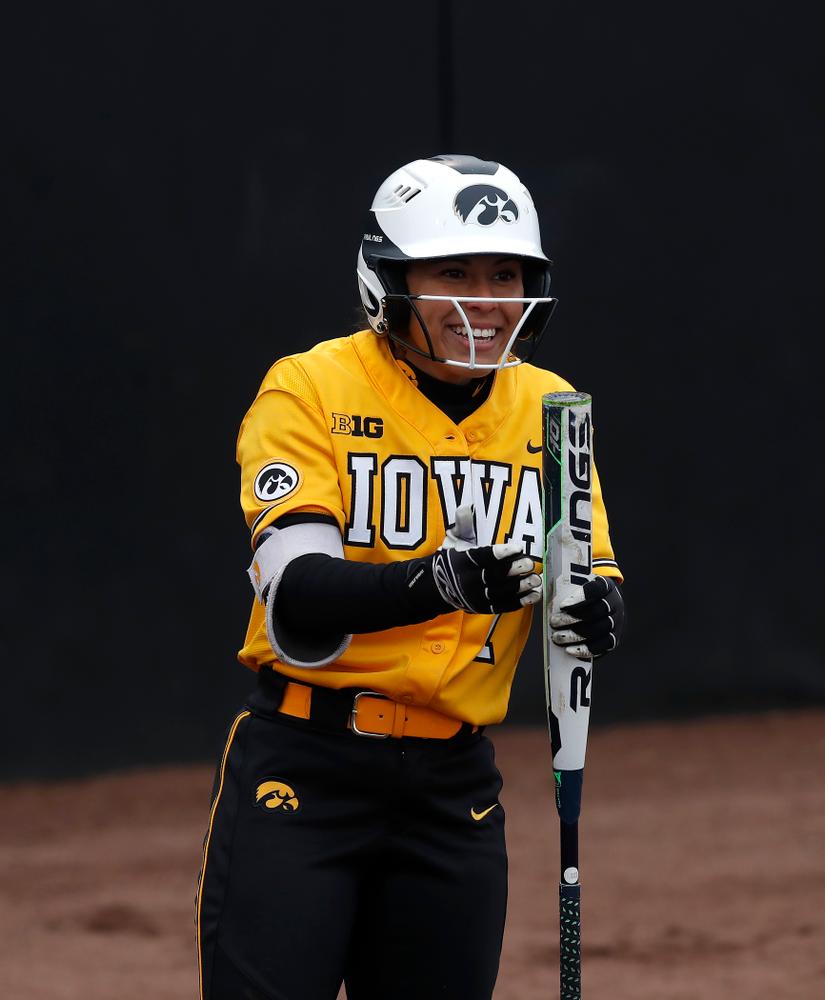Iowa Hawkeyes infielder Lea Thompson (7) against UW Green Bay Tuesday, March 27, 2018 at Bob Pearl Field. (Brian Ray/hawkeyesports.com)