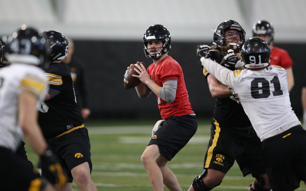 Iowa Hawkeyes quarterback Peyton Mansell (2) during preparation for the 2019 Outback Bowl Tuesday, December 18, 2018 at the Hansen Football Performance Center. (Brian Ray/hawkeyesports.com)