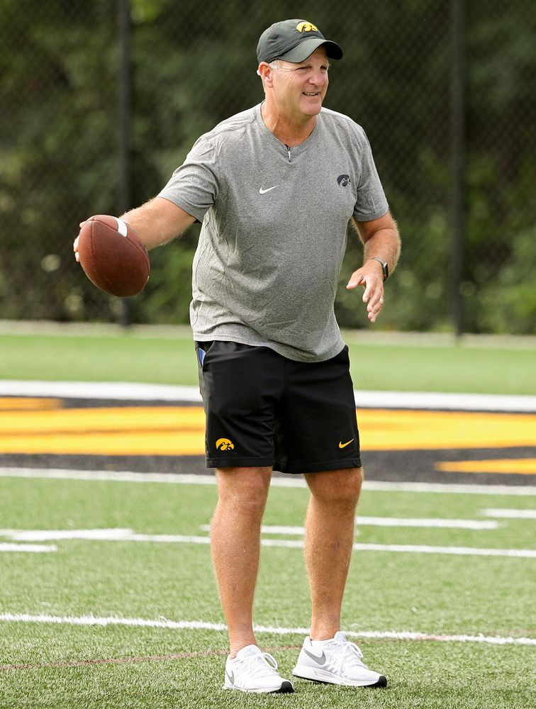 Iowa Hawkeyes defensive coordinator Phil Parker runs a drill during Fall Camp Practice No. 11 at the Hansen Football Performance Center in Iowa City on Wednesday, Aug 14, 2019. (Stephen Mally/hawkeyesports.com)