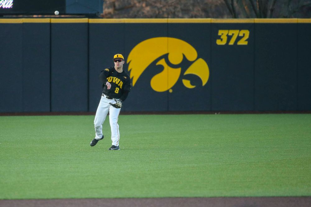 Iowa outfielder Luke Farley at the game vs. Bradley on Tuesday, March 26, 2019 at (place). (Lily Smith/hawkeyesports.com)