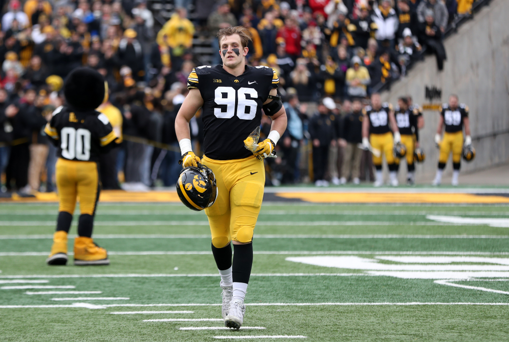 Iowa Hawkeyes defensive end Matt Nelson (96) during senior day activities before their game against the Nebraska Cornhuskers Friday, November 23, 2018 at Kinnick Stadium. (Brian Ray/hawkeyesports.com)