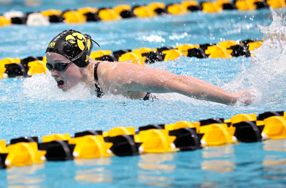 Iowa's Kelsey Drake swims in the women's 200 yard butterfly preliminary event during the 2020 Women's Big Ten Swimming and Diving Championships at the Campus Recreation and Wellness Center in Iowa City on Saturday, February 22, 2020. (Stephen Mally/hawkeyesports.com)