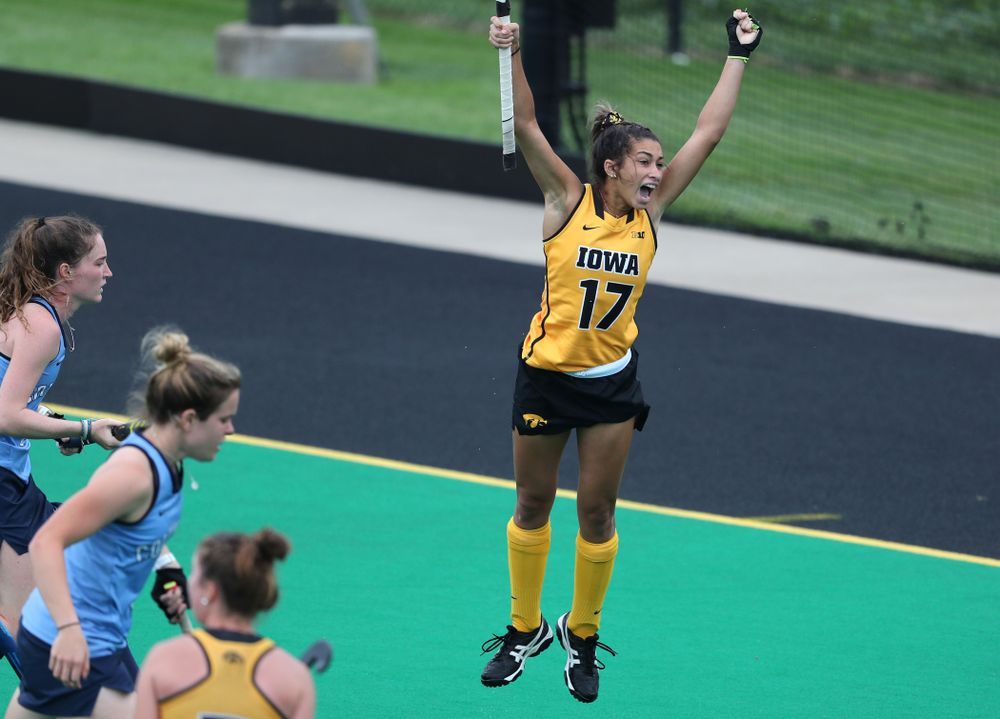 Iowa Hawkeyes forward Ciara Smith (17) celebrates a goal against Columbia Sunday, September 8, 2019 at Grant Field. (Brian Ray/hawkeyesports.com)
