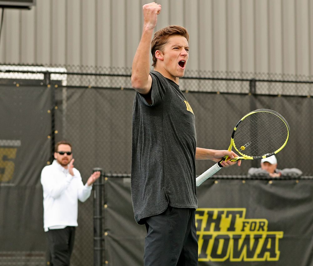 Iowa's Joe Tyler celebrates during a double match against Ohio State at the Hawkeye Tennis and Recreation Complex in Iowa City on Sunday, Apr. 7, 2019. (Stephen Mally/hawkeyesports.com)