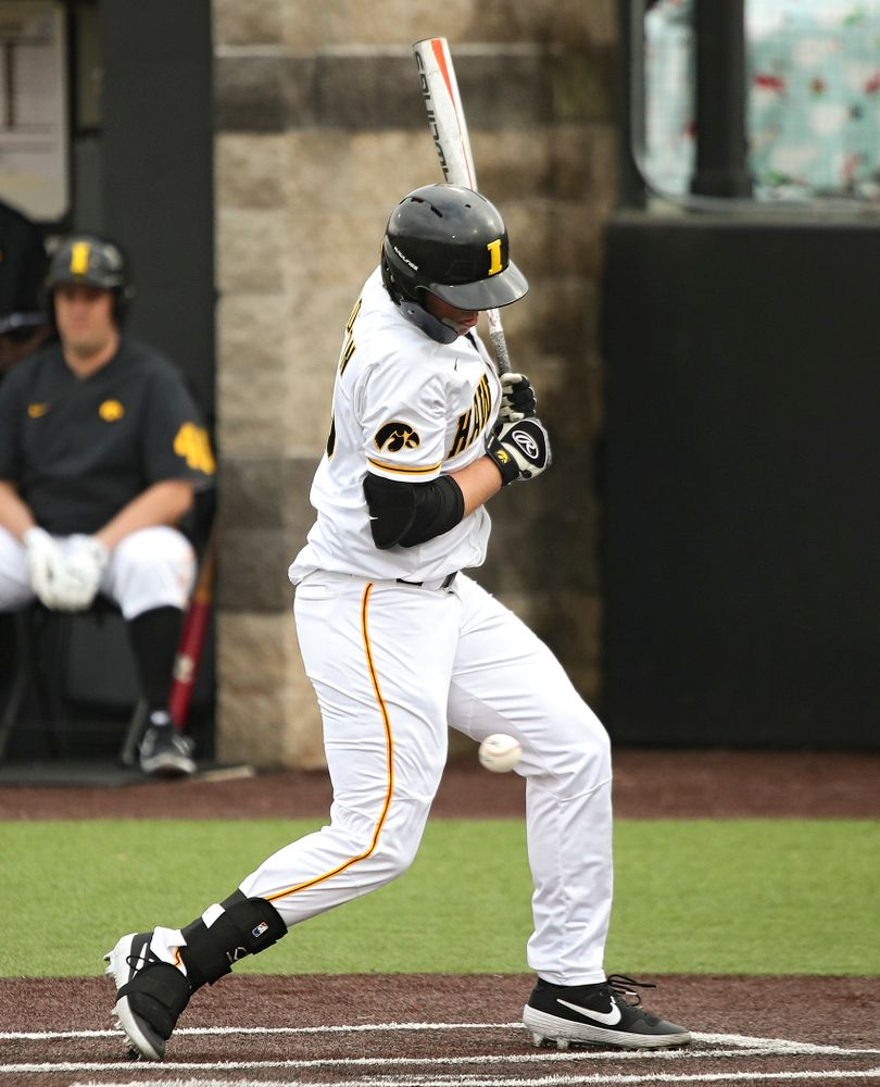 Iowa outfielder Zeb Adreon (5) is hit by a pitch during the fourth inning of their college baseball game at Duane Banks Field in Iowa City on Wednesday, March 11, 2020. (Stephen Mally/hawkeyesports.com)