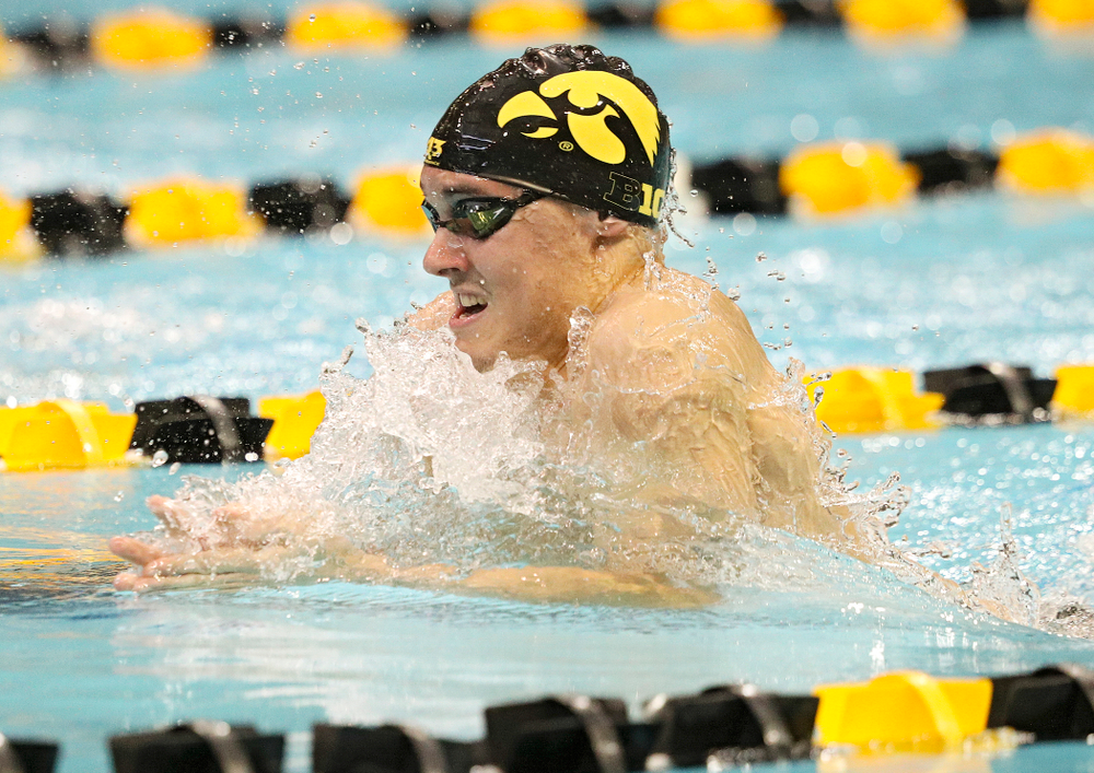 Iowa's Daniel Swanepoel swims the men's 200-yard breaststroke event during their meet against Michigan State and Northern Iowa at the Campus Recreation and Wellness Center in Iowa City on Friday, Oct 4, 2019. (Stephen Mally/hawkeyesports.com)