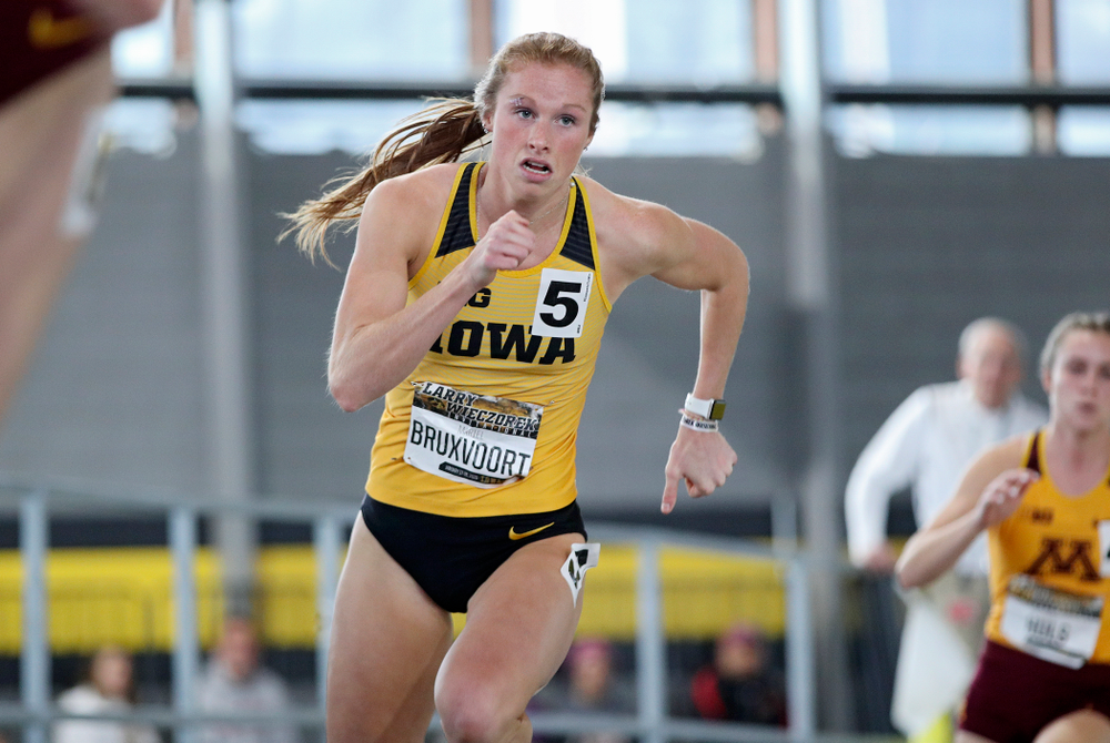 Iowa's Mariel Bruxvoort runs the women's 400 meter dash event during the Larry Wieczorek Invitational at the Recreation Building in Iowa City on Saturday, January 18, 2020. (Stephen Mally/hawkeyesports.com)