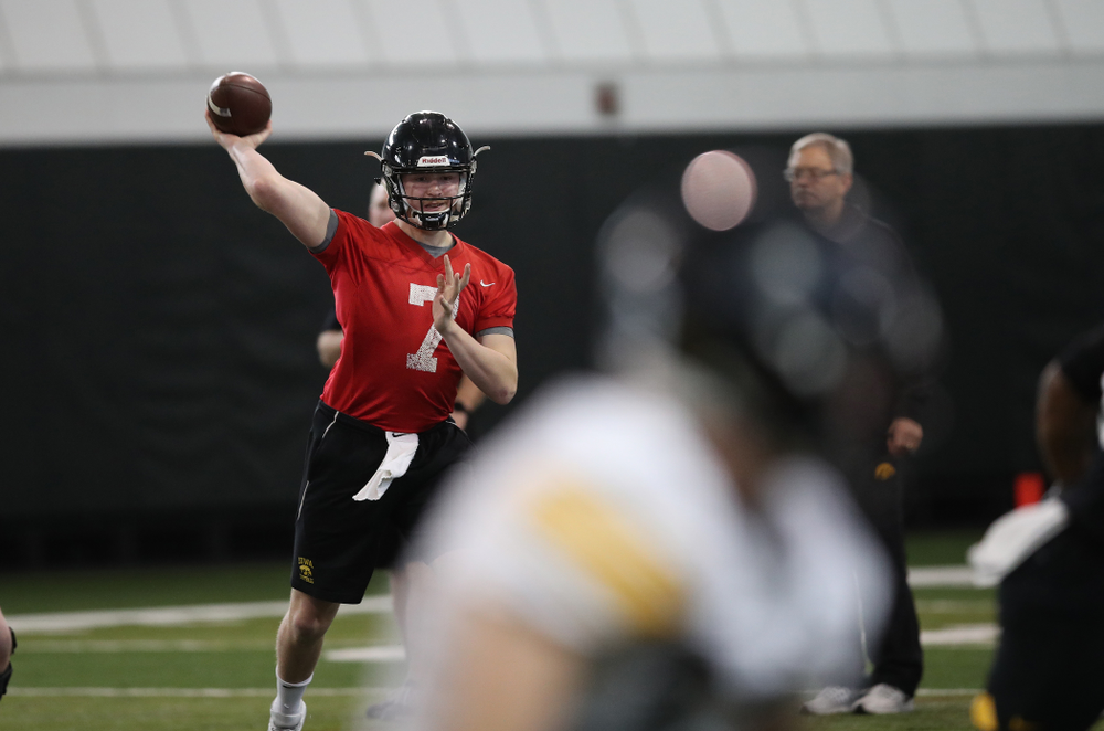Iowa Hawkeyes quarterback Spencer Petras (7) during preparation for the 2019 Outback Bowl Tuesday, December 18, 2018 at the Hansen Football Performance Center. (Brian Ray/hawkeyesports.com)