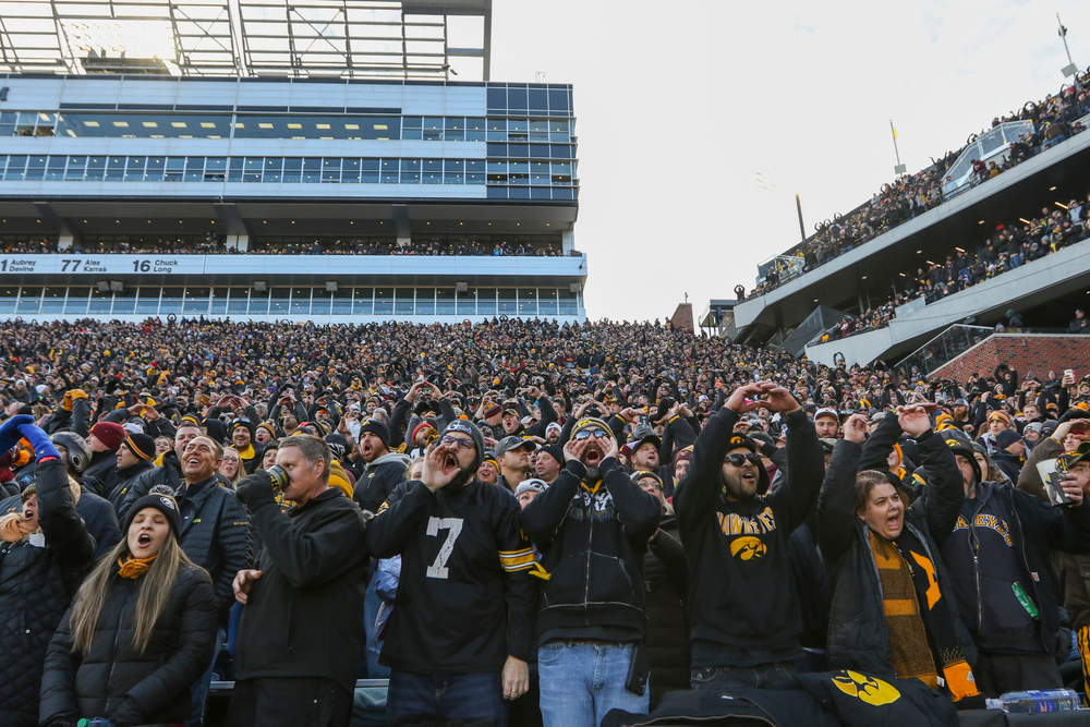 Fans cheer during Iowa football vs Minnesota on Saturday, November 16, 2019 at Kinnick Stadium. (Lily Smith/hawkeyesports.com)