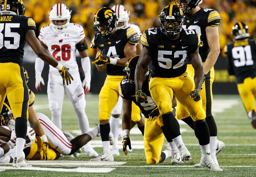 Iowa Hawkeyes linebacker Amani Jones (52) reacts after making a tackle during a game against Wisconsin at Kinnick Stadium on September 22, 2018. (Tork Mason/hawkeyesports.com)