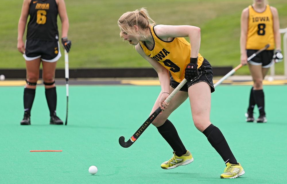 Iowa's Sofie Stribos (9) runs a drill during practice at Grant Field in Iowa City on Thursday, Aug 15, 2019. (Stephen Mally/hawkeyesports.com)