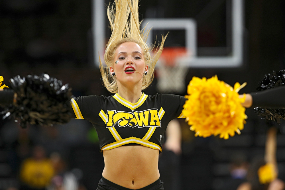 The Iowa Dance Team performs during the first half of their exhibition game against Lindsey Wilson College at Carver-Hawkeye Arena in Iowa City on Monday, Nov 4, 2019. (Stephen Mally/hawkeyesports.com)