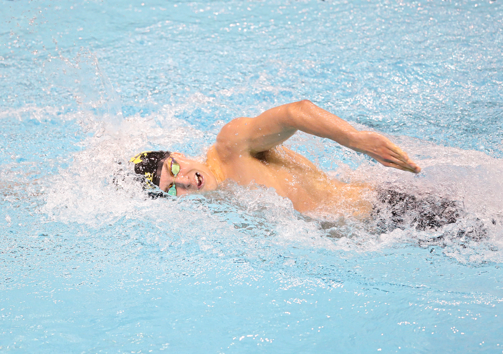 Iowa's Thomas Pederson swims the men's 200 yard freestyle event during their meet at the Campus Recreation and Wellness Center in Iowa City on Friday, February 7, 2020. (Stephen Mally/hawkeyesports.com)