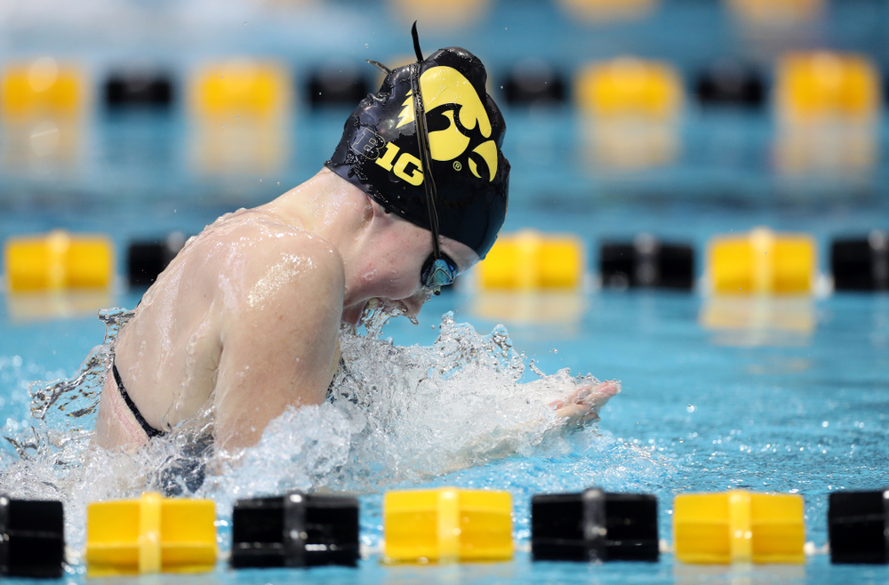 IowaÕs Paige Hanley swims the 100 yard breaststroke against the Michigan Wolverines Friday, November 1, 2019 at the Campus Recreation and Wellness Center. (Brian Ray/hawkeyesports.com)