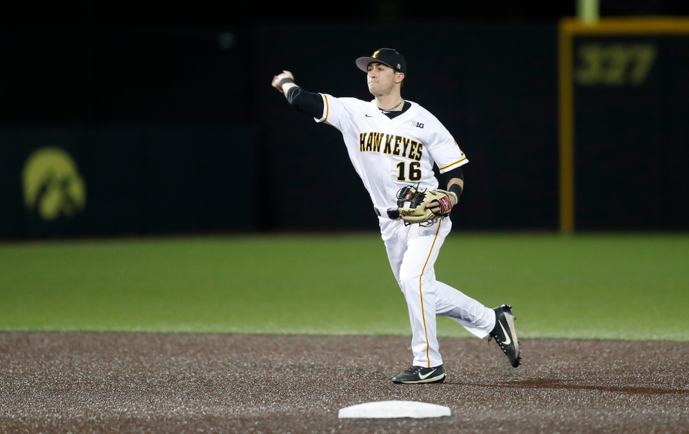 Iowa Hawkeyes infielder Tanner Wetrich (16) against Coe College Wednesday, April 11, 2018 at Duane Banks Field. (Brian Ray/hawkeyesports.com)