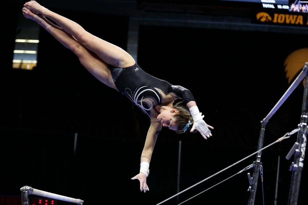 Iowa's Melissa Zurawski competes on the bars against the Nebraska Cornhuskers
