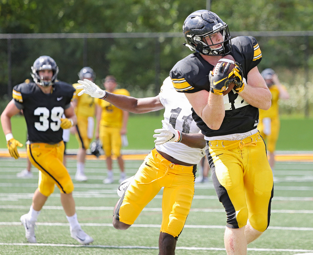 Iowa Hawkeyes tight end Shaun Beyer (42) pulls in a pass around defensive back Michael Ojemudia (11) during Fall Camp Practice #5 at the Hansen Football Performance Center in Iowa City on Tuesday, Aug 6, 2019. (Stephen Mally/hawkeyesports.com)