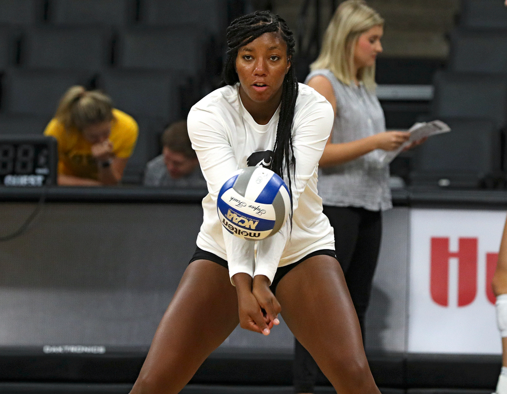 Iowa's Amiya Jones (9) during Iowa Volleyball's Media Day at Carver-Hawkeye Arena in Iowa City on Friday, Aug 23, 2019. (Stephen Mally/hawkeyesports.com)