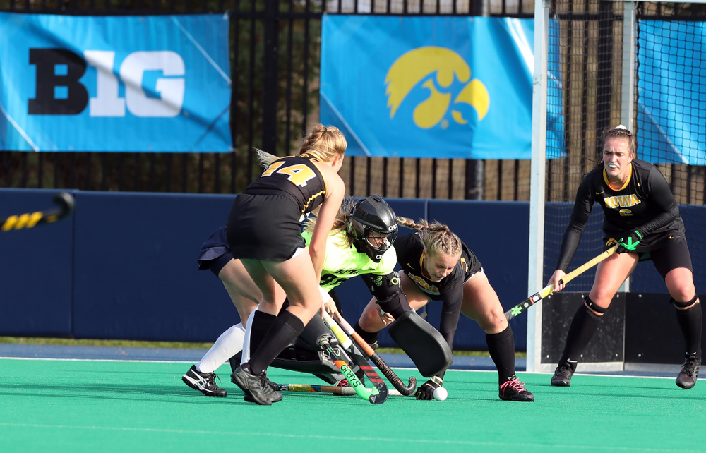 Iowa Hawkeyes goaltender Leslie Speight (96) against Penn State in the 2019 Big Ten Field Hockey Tournament Championship Game Sunday, November 10, 2019 in State College. (Brian Ray/hawkeyesports.com)