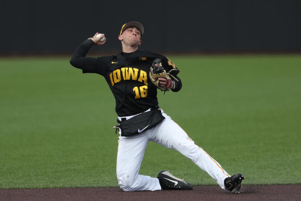 Iowa Hawkeyes Tanner Wetrich (16) against California State Northridge Sunday, March 17, 2019 at Duane Banks Field. (Brian Ray/hawkeyesports.com)
