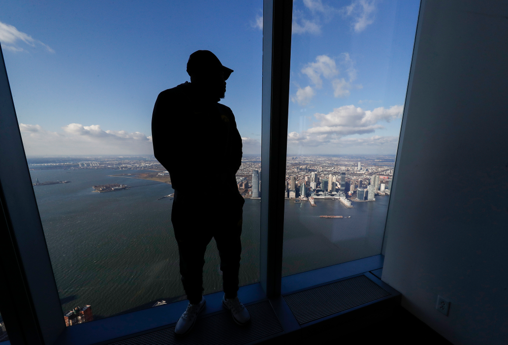 Iowa Hawkeyes running back Akrum Wadley (25) as the team visit the observation deck of the One World Trade Center and the 9/11 Memorial and Museum.