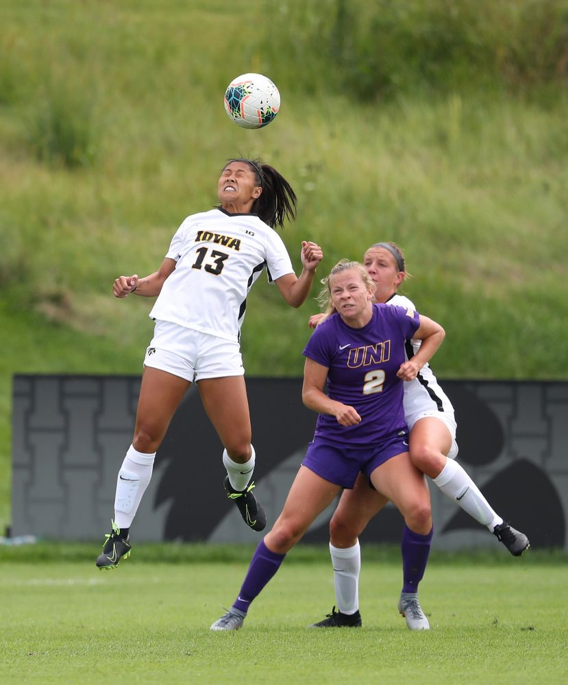Iowa Hawkeyes forward Bianca Acuario (13) during a 6-1 win over Northern Iowa Sunday, August 25, 2019 at the Iowa Soccer Complex. (Brian Ray/hawkeyesports.com)