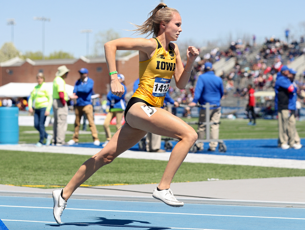 Iowa's Payton Wensel runs in the women's 400 meter hurdles event during the second day of the Drake Relays at Drake Stadium in Des Moines on Friday, Apr. 26, 2019. (Stephen Mally/hawkeyesports.com)