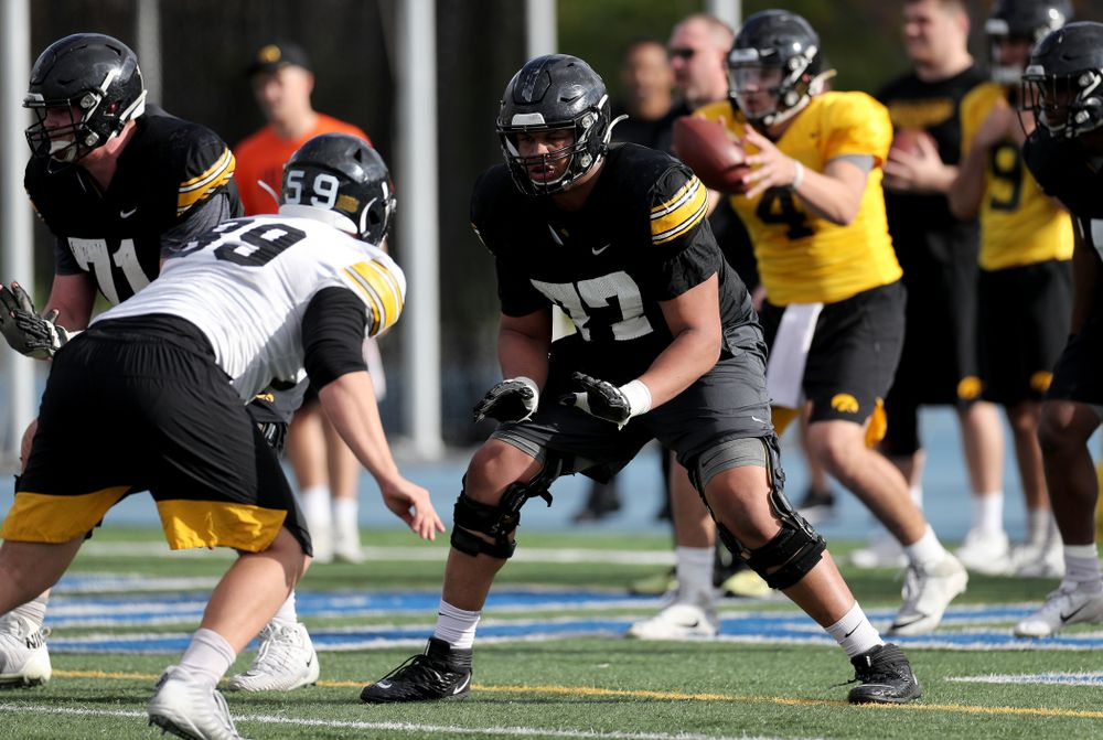 Iowa Hawkeyes offensive lineman Alaric Jackson (77) during Holiday Bowl Practice No. 3  Tuesday, December 24, 2019 at San Diego Mesa College. (Brian Ray/hawkeyesports.com)