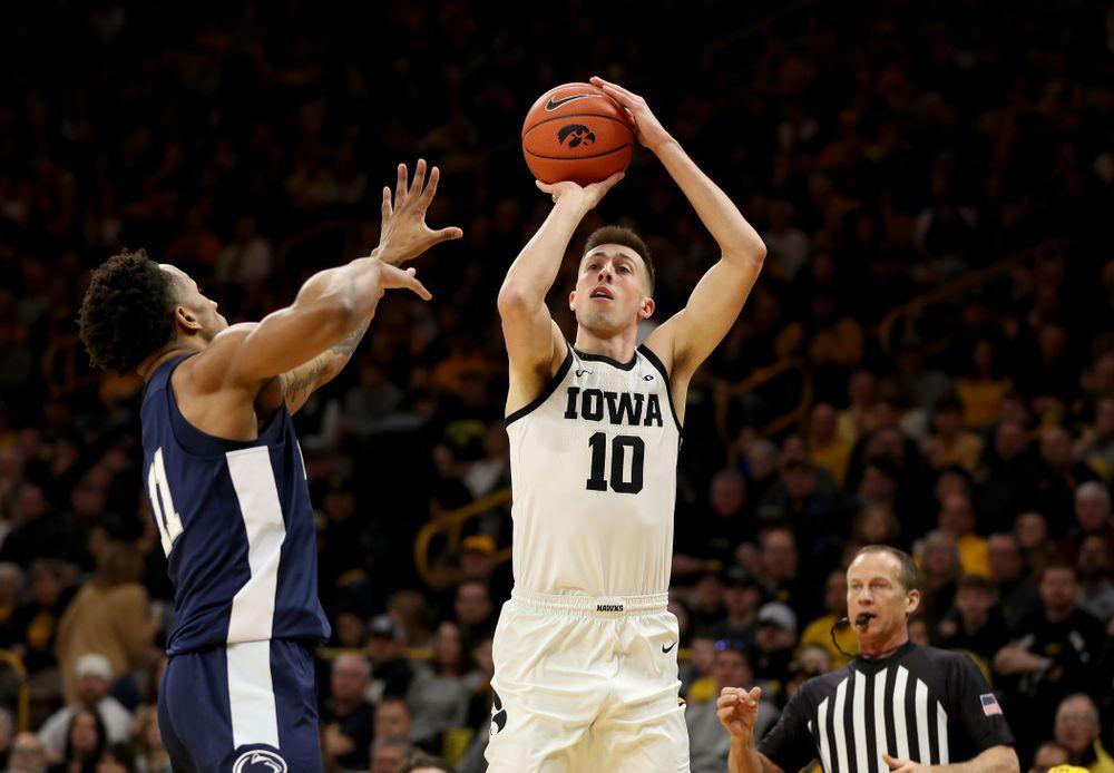 Iowa Hawkeyes guard Joe Wieskamp (10) knocks down a three point basket against Penn State Saturday, February 29, 2020 at Carver-Hawkeye Arena. (Brian Ray/hawkeyesports.com)