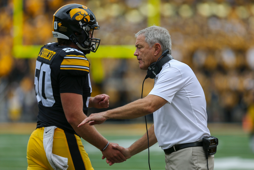 Iowa Hawkeyes long snapper Jackson Subbert (50) and Iowa Hawkeyes head coach Kirk Ferentz against Middle Tennessee Saturday, September 28, 2019 at Kinnick Stadium. (Lily Smith/hawkeyesports.com)