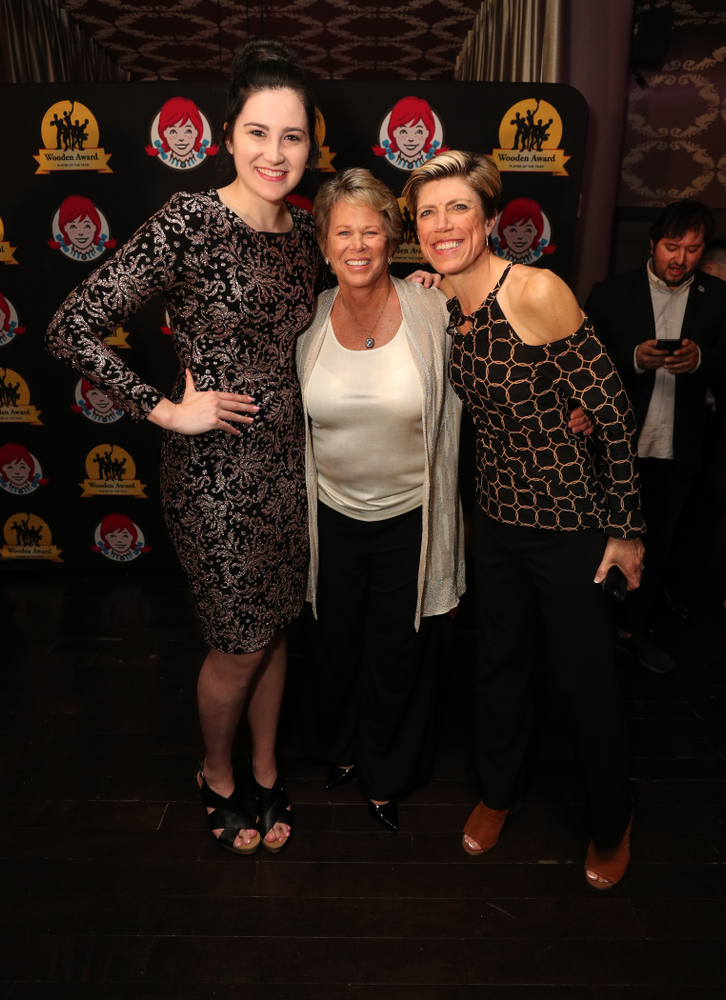 Iowa Hawkeyes forward Megan Gustafson (10) and associate head coach Jan Jensen with WNBA great Ann Meyers Drysdale before the ESPN College Basketball Awards show Friday, April 12, 2019 at The Novo at LA Live.  (Brian Ray/hawkeyesports.com)