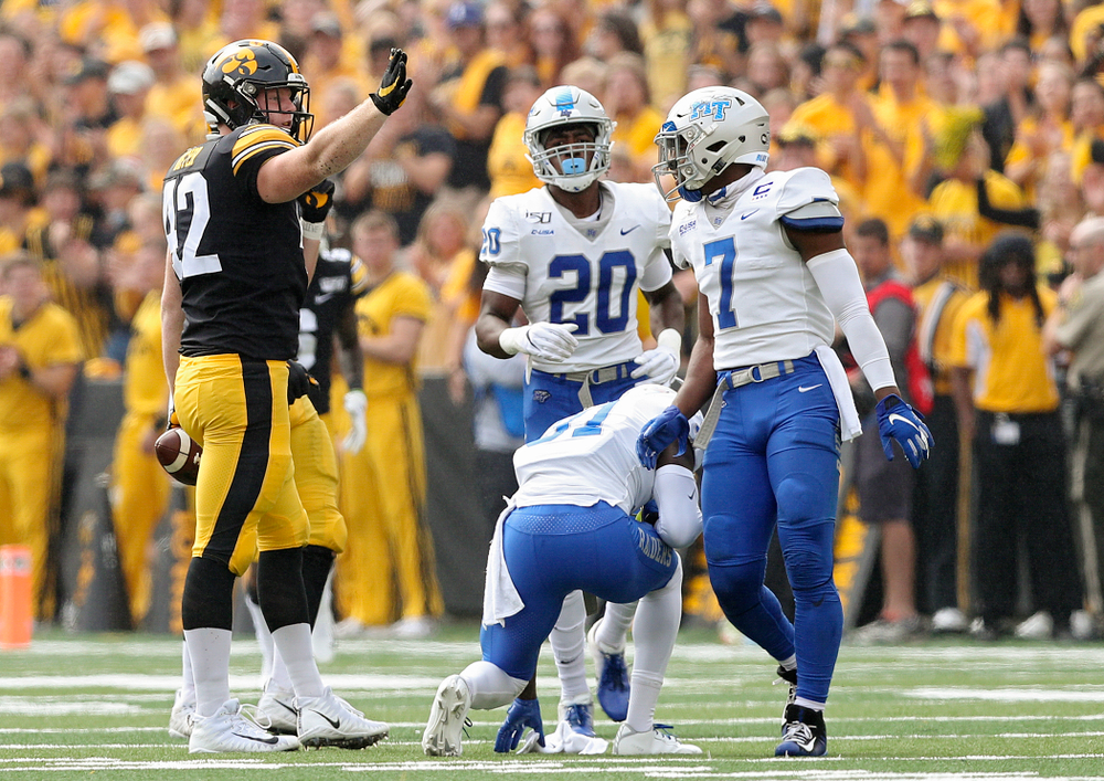 Iowa Hawkeyes tight end Shaun Beyer (42) signals first down after catching a pass during the second quarter of their game at Kinnick Stadium in Iowa City on Saturday, Sep 28, 2019. (Stephen Mally/hawkeyesports.com)