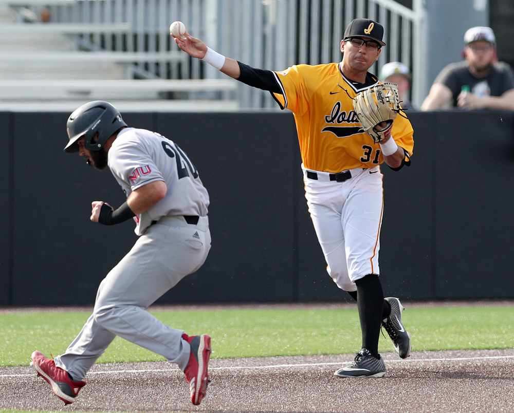 Iowa Hawkeyes third baseman Matthew Sosa (31) throws to first base for an out during the second inning of their game against Northern Illinois at Duane Banks Field in Iowa City on Tuesday, Apr. 16, 2019. (Stephen Mally/hawkeyesports.com)
