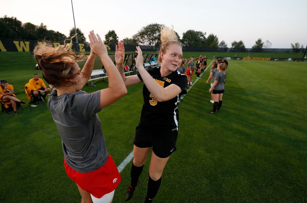 Iowa Hawkeyes Morgan Kemmerling (3) and  Claire Graves (1) against the Purdue Boilermakers Thursday, September 20, 2018 at the Iowa Soccer Complex. (Brian Ray/hawkeyesports.com)
