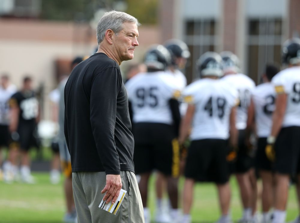 Iowa Hawkeyes head coach Kirk Ferentz during practice for the 2019 Outback Bowl Friday, December 28, 2018 at the University of Tampa. (Brian Ray/hawkeyesports.com)