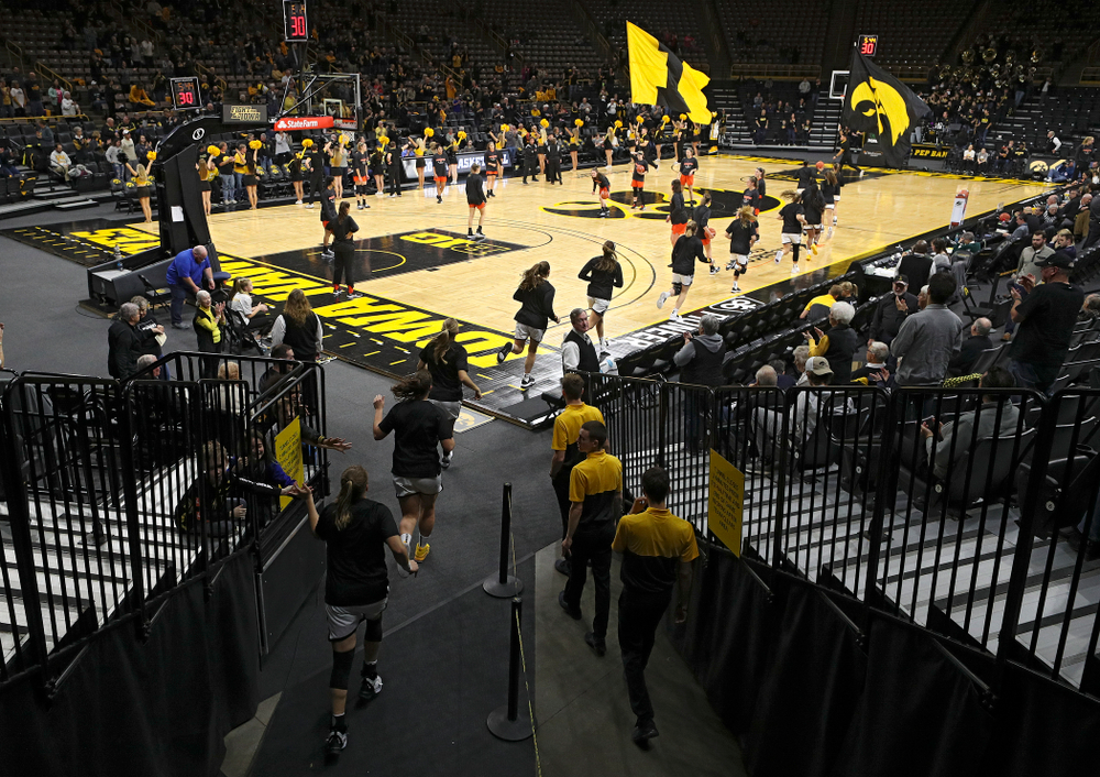 The Hawkeyes take the court before their overtime win against Princeton at Carver-Hawkeye Arena in Iowa City on Wednesday, Nov 20, 2019. (Stephen Mally/hawkeyesports.com)