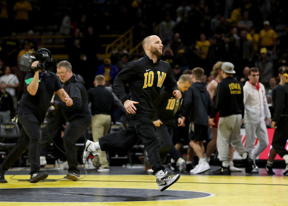 IowaÕs Alex Marinelli following their meet against Wisconsin Sunday, December 1, 2019 at Carver-Hawkeye Arena. (Brian Ray/hawkeyesports.com)
