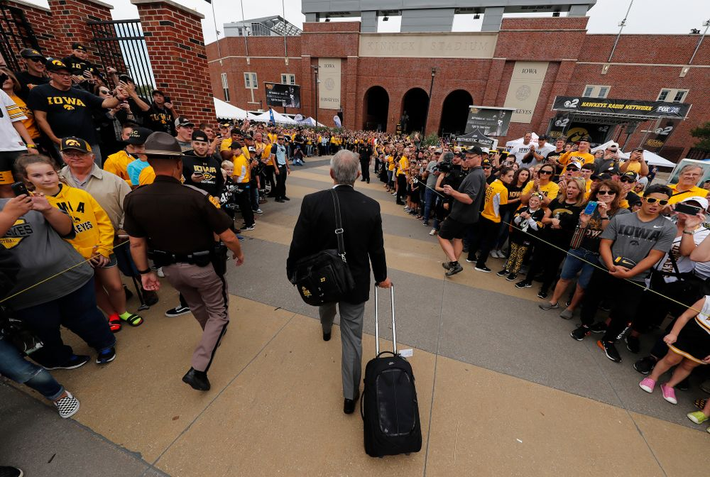 Iowa Hawkeyes head coach Kirk Ferentz arrives for their game against the Iowa State Cyclones Saturday, September 8, 2018 at Kinnick Stadium. (Brian Ray/hawkeyesports.com)