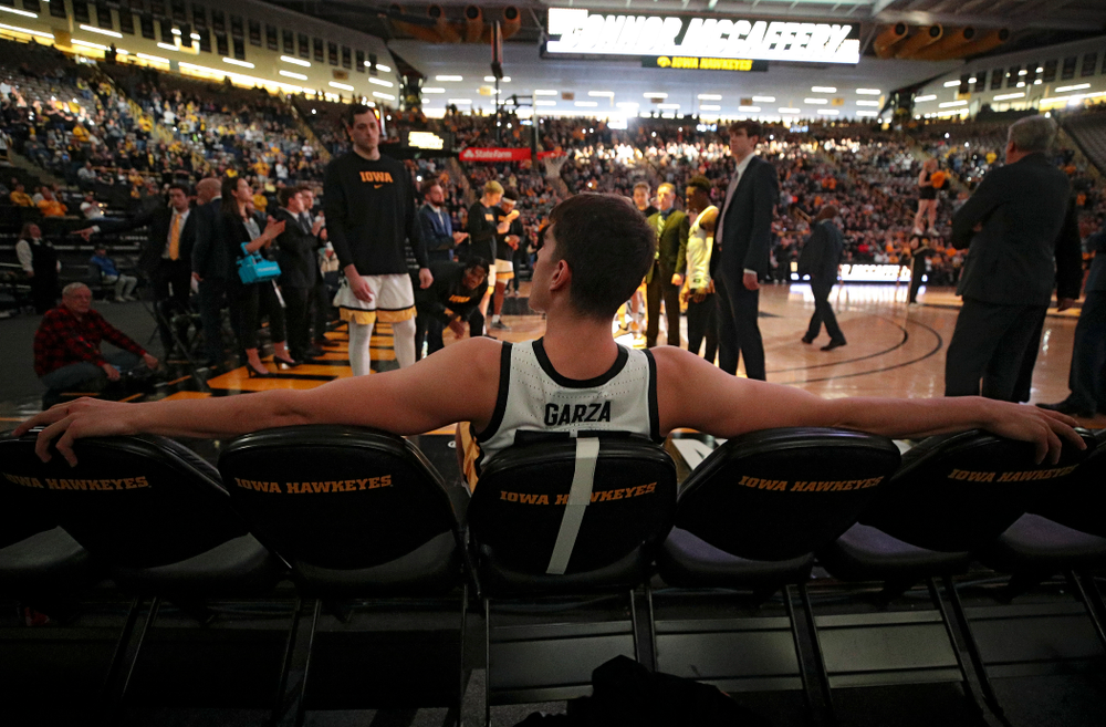 Iowa Hawkeyes center Luka Garza (55) waits to be introduced before their game at Carver-Hawkeye Arena in Iowa City on Sunday, Nov 24, 2019. (Stephen Mally/hawkeyesports.com)