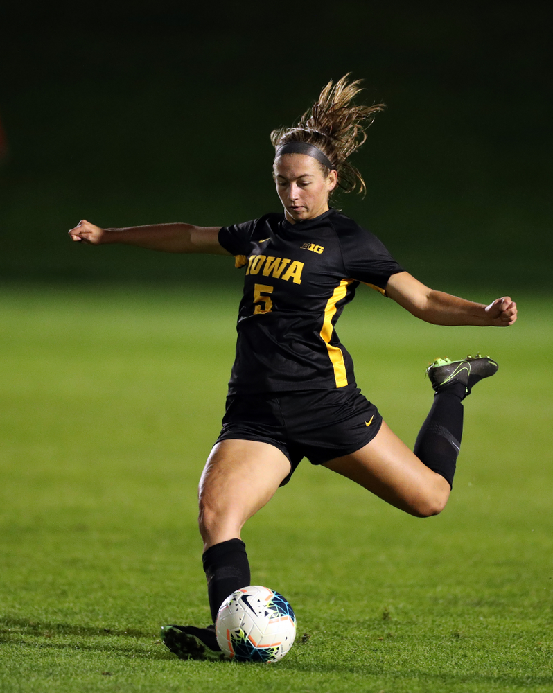 Iowa Hawkeyes defender Riley Whitaker (5) against the Nebraska Cornhuskers Thursday, October 3, 2019 at the Iowa Soccer Complex. (Brian Ray/hawkeyesports.com)